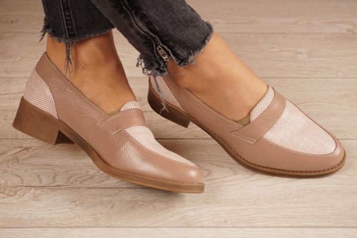 Pantofi dama din piele naturala bej MSPD58120-20 1