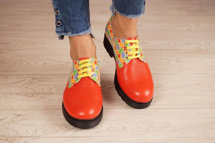 Pantofi dama din piele naturala rosie MSPD53017-14-20 3