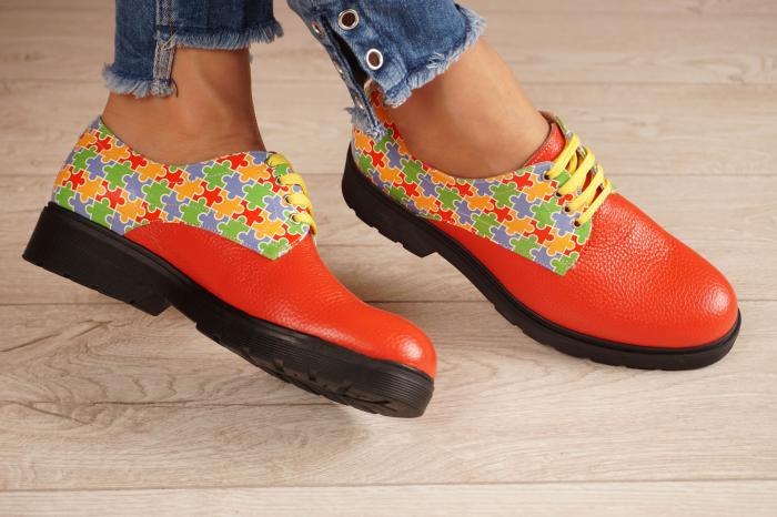 Pantofi dama din piele naturala rosie MSPD53017-14-20 1