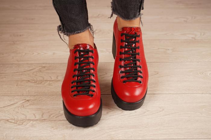 Pantofi dama din piele naturala rosie MSPD58620-20 [3]