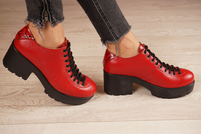 Pantofi dama din piele naturala rosie MSPD58620-20 [2]
