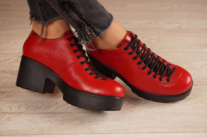 Pantofi dama din piele naturala rosie MSPD58620-20 [0]