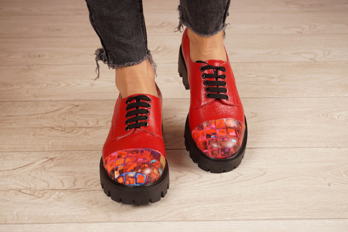 Pantofi dama din piele naturala rosie MSPD59016-4-20 [3]