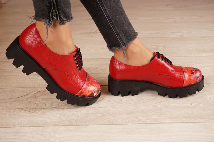Pantofi dama din piele naturala rosie MSPD59016-4-20 [2]