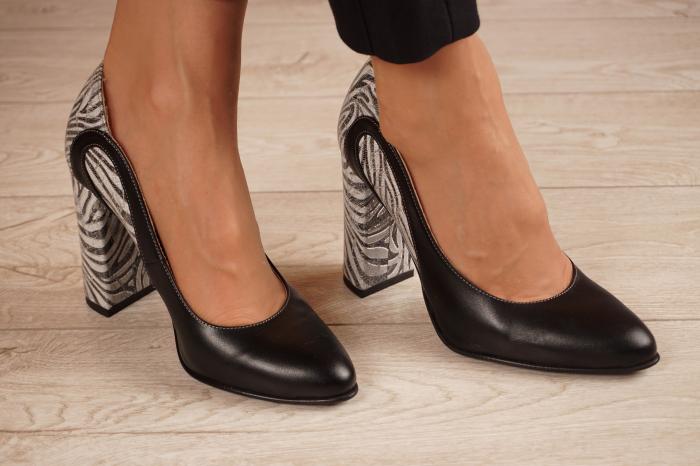 Pantofi dama din piele naturala neagra MSPD54818-1-20 [0]