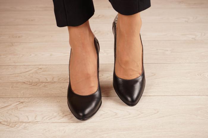 Pantofi dama din piele naturala neagra MSPD54818-1-20 [2]