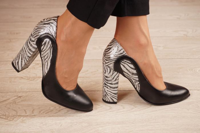 Pantofi dama din piele naturala neagra MSPD54818-1-20 [1]