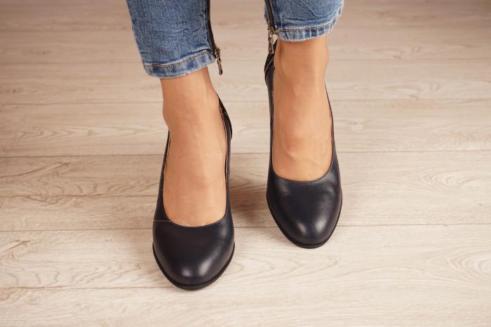 Pantofi dama din piele naturala bleumaren MSPD58119-2-20 2