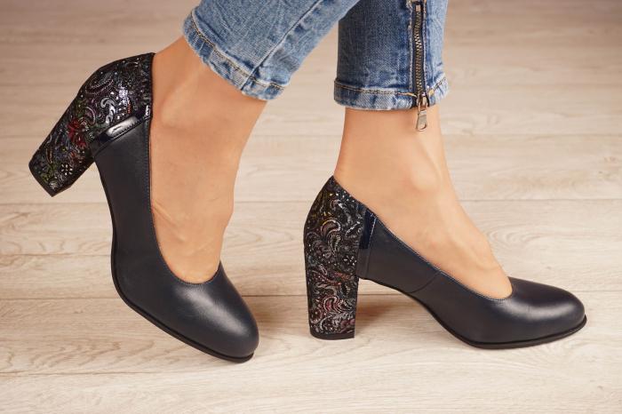 Pantofi dama din piele naturala bleumaren MSPD58119-2-20 1