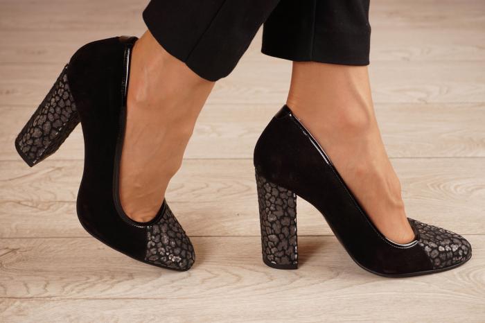 Pantofi dama din piele naturala camoscio neagra MSPD51420-1-20 [1]