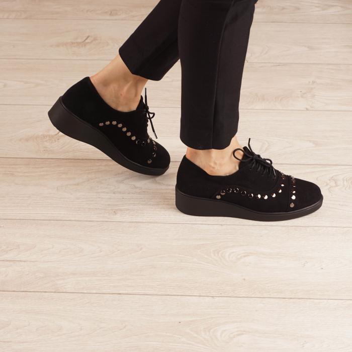 Pantofi dama din piele naturala camoscio negru MSPD56520-1-20 [0]