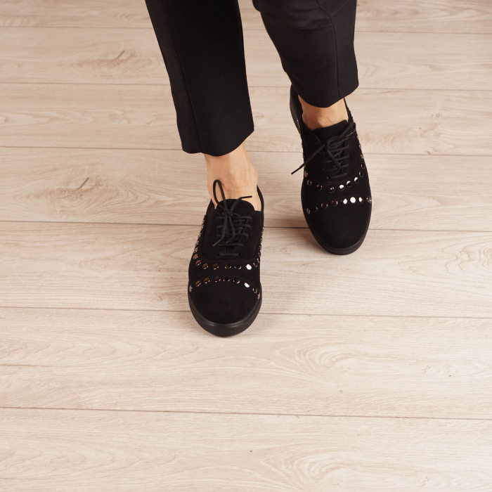 Pantofi dama din piele naturala camoscio negru MSPD56520-1-20 [2]