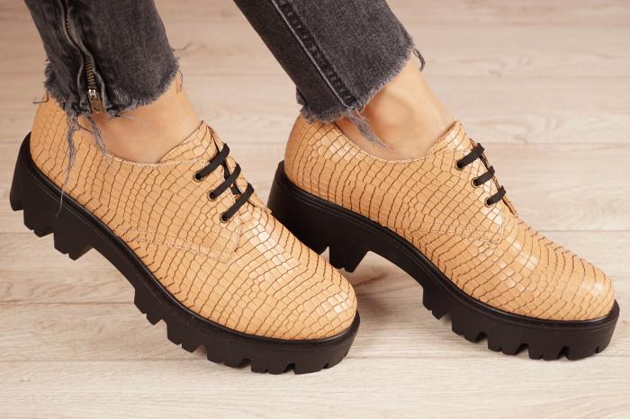 Pantofi dama din piele naturala croco bej MSPD55320-21 [0]