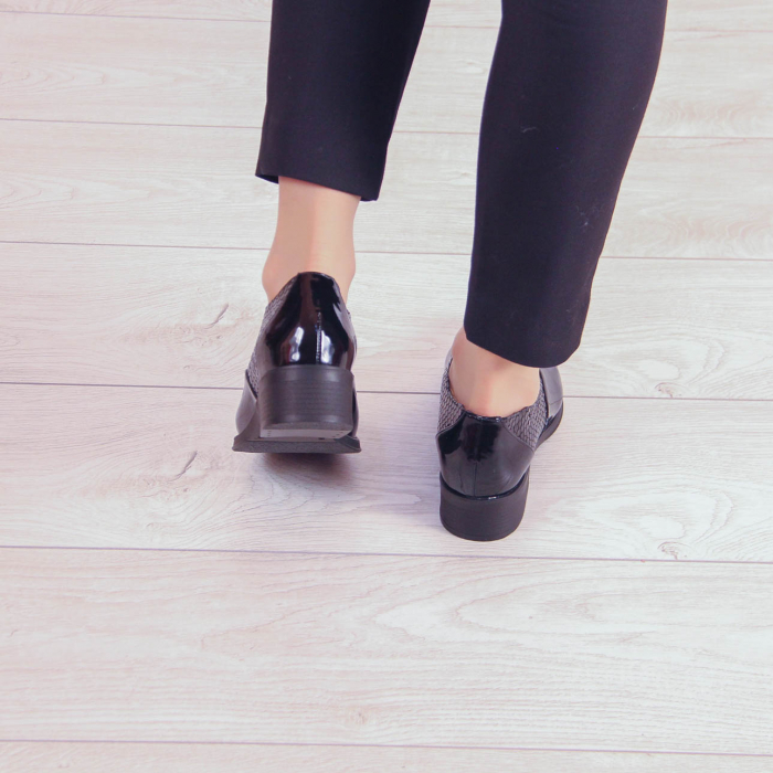 Pantofi dama din piele naturala croco lac negru MSPD52420-20 3