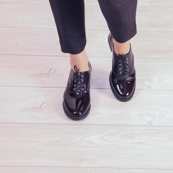 Pantofi dama din piele naturala croco lac negru MSPD52420-20 2