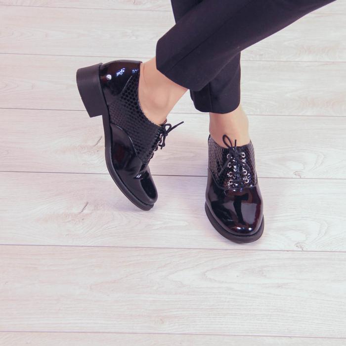 Pantofi dama din piele naturala croco lac negru MSPD52420-20 1