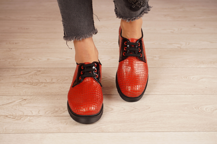 Pantofi dama din piele naturala croco rosu MSPD55319-21 [3]