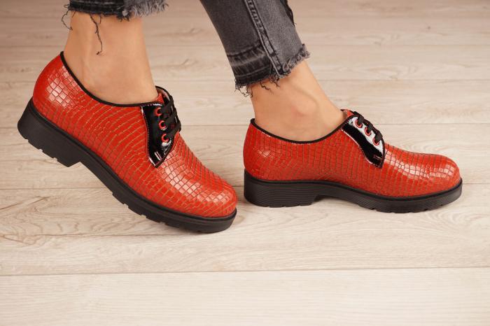 Pantofi dama din piele naturala croco rosu MSPD55319-21 [2]