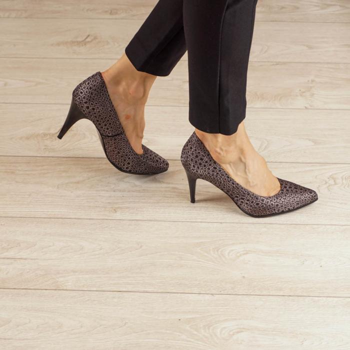 Pantofi dama din piele naturala cu imprimeu MSPD190-3-20 [0]