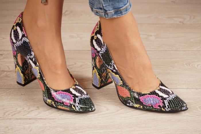 Pantofi dama din piele naturala cu imprimeu MSPD190-38-20 [0]