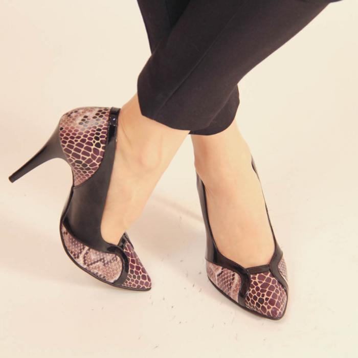 Pantofi dama din piele naturala cu imprimeu MSPD50920-20 [0]
