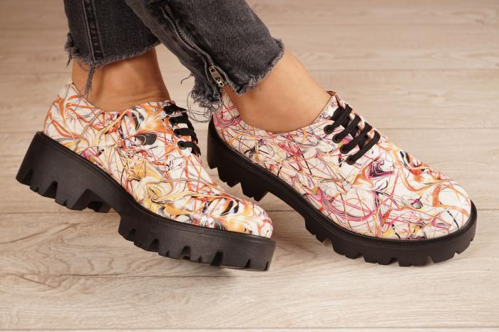 Pantofi dama din piele naturala cu imprimeu MSPD53017-10-20 1