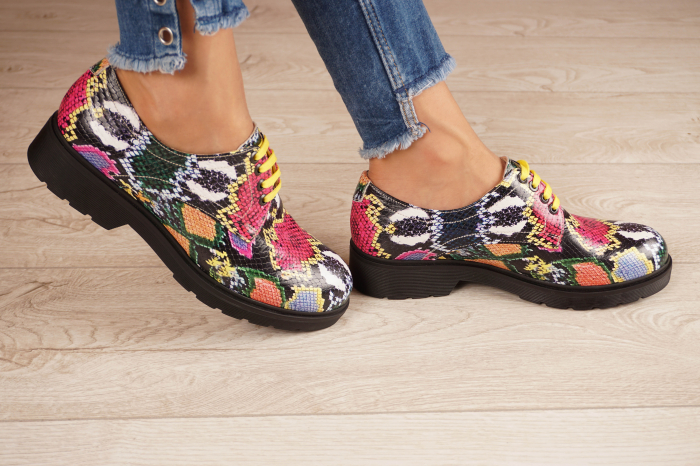Pantofi dama din piele naturala cu imprimeu MSPD53017-12-20 2