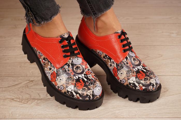 Pantofi dama din piele naturala cu imprimeu MSPD53017-16-20 [0]