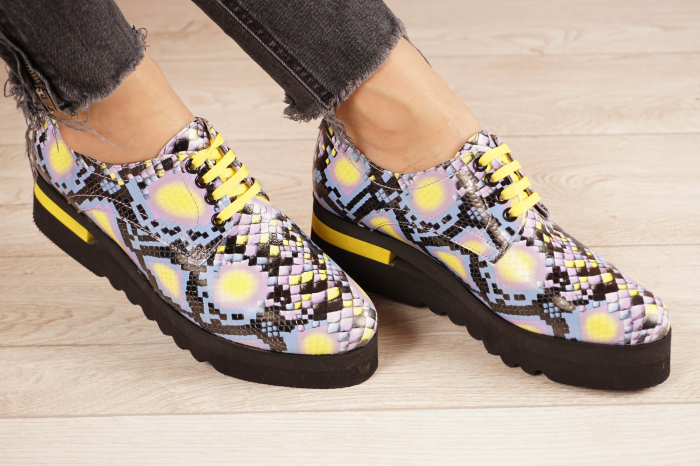 Pantofi dama din piele naturala cu imprimeu MSPD53017-2-21 [0]