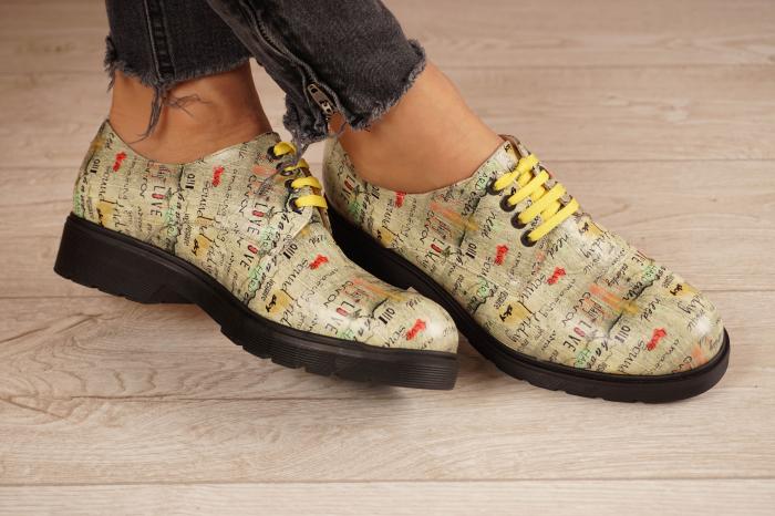 Pantofi dama din piele naturala cu imprimeu MSPD53017-4-20 1
