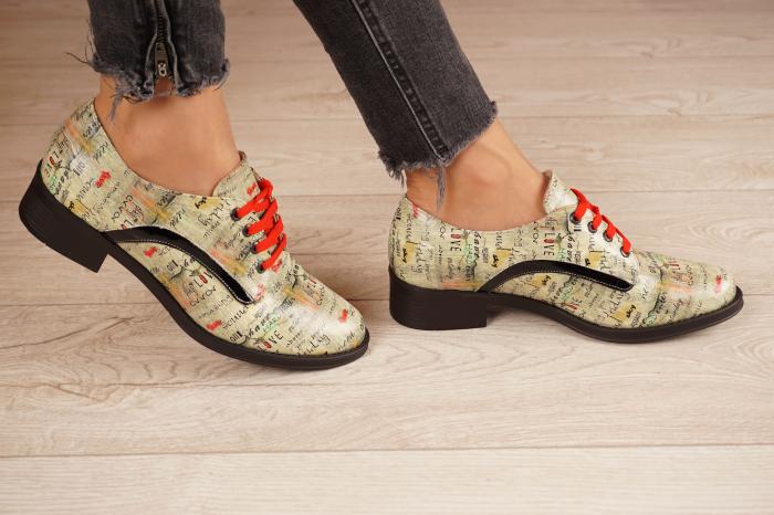 Pantofi dama din piele naturala cu imprimeu MSPD54020-1-20 2