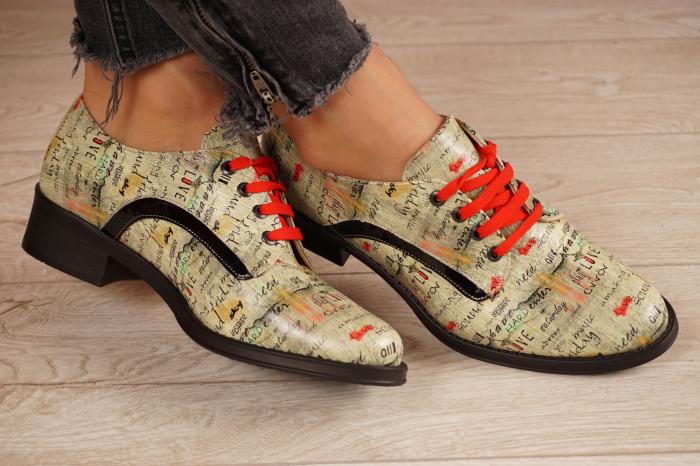 Pantofi dama din piele naturala cu imprimeu MSPD54020-1-20 1