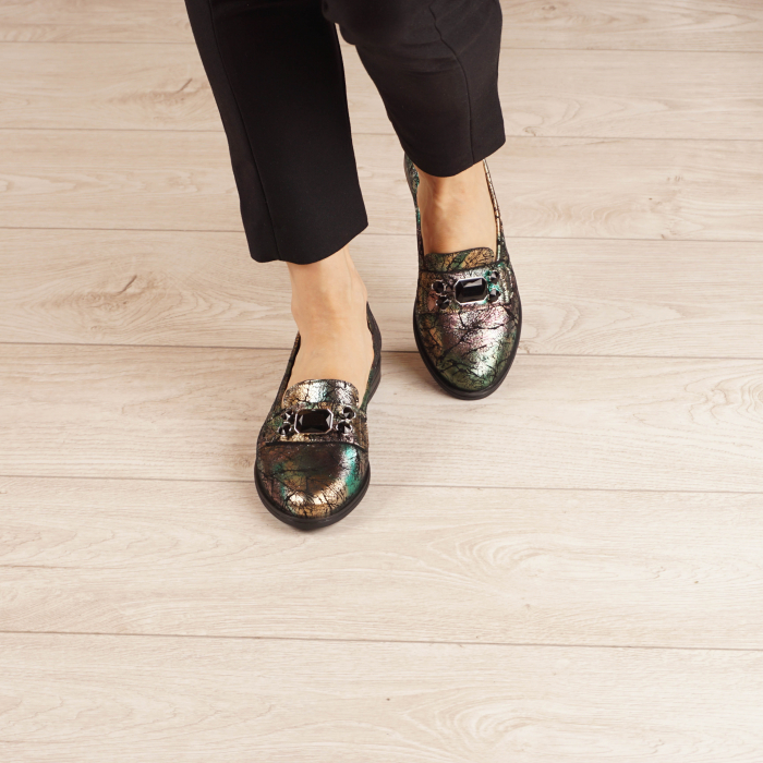 Pantofi dama din piele naturala cu imprimeu MSPD54420-1-20 2