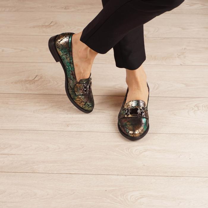 Pantofi dama din piele naturala cu imprimeu MSPD54420-1-20 1