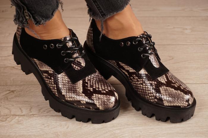 Pantofi dama din piele naturala cu imprimeu MSPD60020-20 [0]