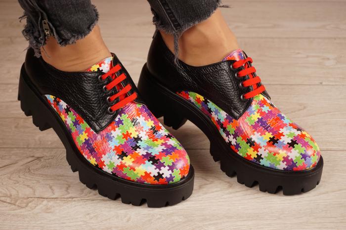 Pantofi dama din piele naturala cu imprimeu puzzle MSPD53017-7-20 0