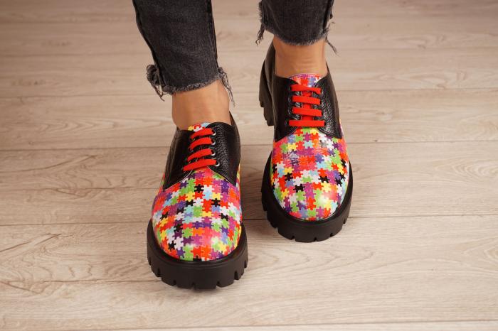 Pantofi dama din piele naturala cu imprimeu puzzle MSPD53017-7-20 3
