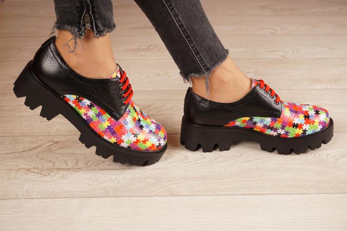 Pantofi dama din piele naturala cu imprimeu puzzle MSPD53017-7-20 2