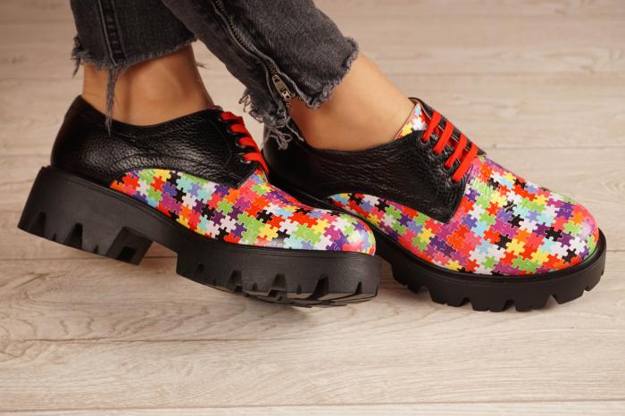 Pantofi dama din piele naturala cu imprimeu puzzle MSPD53017-7-20 1