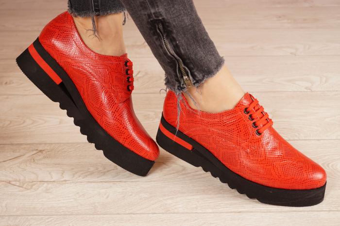 Pantofi dama din piele naturala cu imprimeu rosu MSPD53017-3-21 [1]