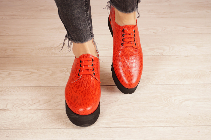 Pantofi dama din piele naturala cu imprimeu rosu MSPD53017-3-21 [3]