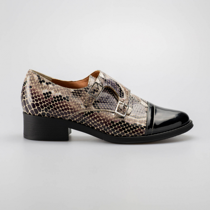 Pantofi dama din piele naturala cu imprimeu sarpe MSPD53318-19 [0]