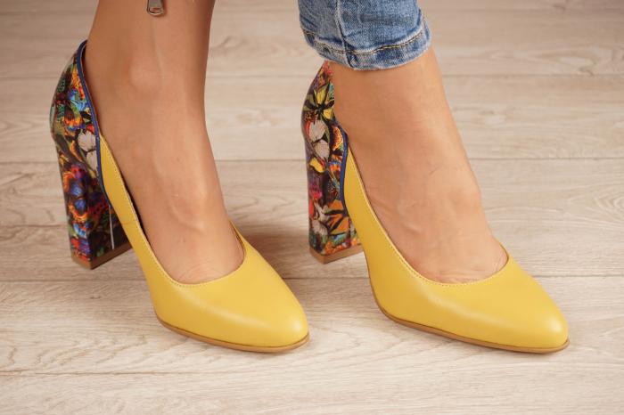 Pantofi dama din piele naturala galbena MSPD50320-1-20 [0]