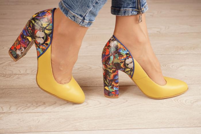 Pantofi dama din piele naturala galbena MSPD50320-1-20 [1]