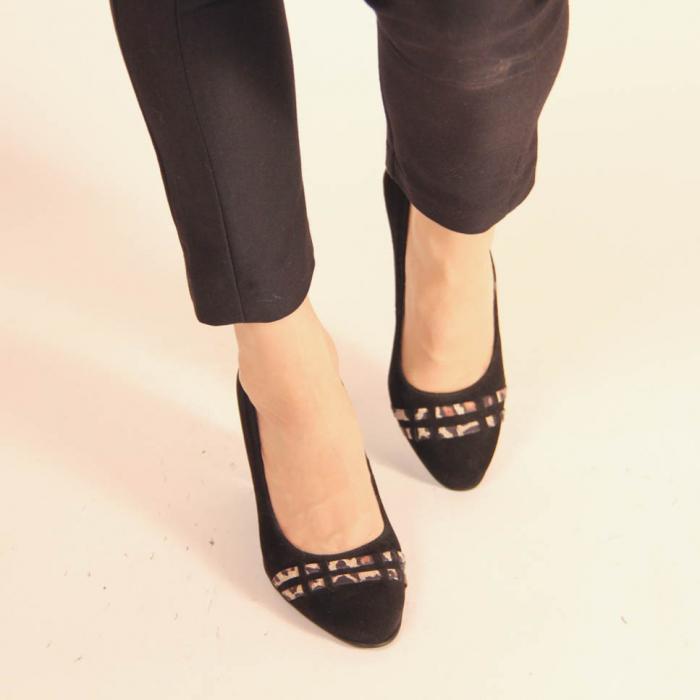 Pantofi dama din piele naturala intoarsa neagra MSPD57119-20 [2]