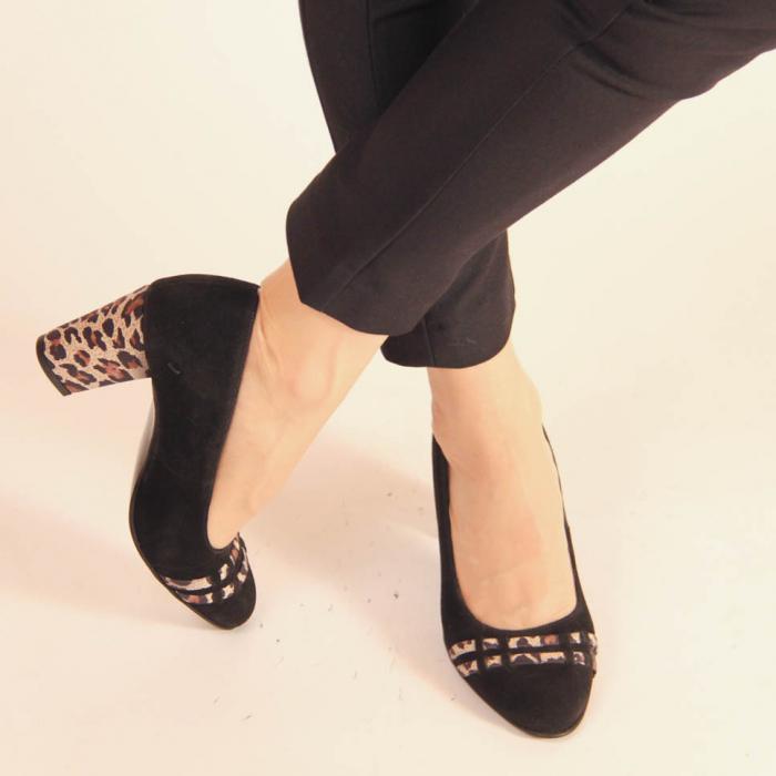 Pantofi dama din piele naturala intoarsa neagra MSPD57119-20 [1]
