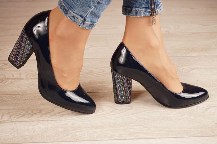 Pantofi dama din piele naturala lacuita bleumaren MSPD799-6-20 [1]