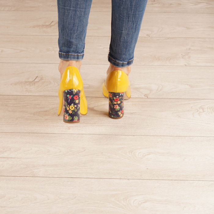 Pantofi dama din piele naturala lacuita galbena MSPD53719-5-20 [3]