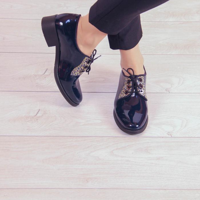 Pantofi dama din piele naturala lacuita MSPD55319-20 1