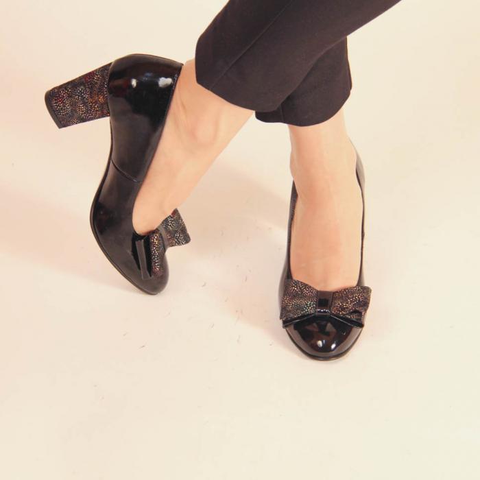 Pantofi dama din piele naturala lacuita neagra MSPD61917-2-20 [0]